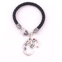 charme armbänder indien großhandel-Huilin Schmuck Neues Design OM Hindu Ganesh Elefant Anhänger Indien Religiöse Amulett Schwarz Leder Armband für Männer und Frauen