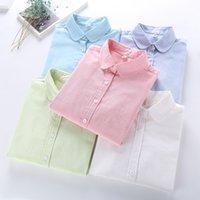 blusa branca de mangas compridas venda por atacado-Mulheres Blusa 2018 New Casual MARCA Camisa De Manga Longa de Algodão Oxford Branco Mulher Escritório Camisas de Qualidade Excelente Blusas