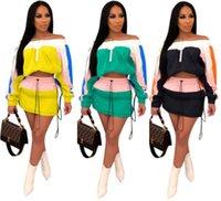 miniskirt dress toptan satış-Toptan kadınlar uzun kollu yaz elbise bodycon gömlek + mini etek iki parçalı elbise moda yüksek kaliteli etek klw0627