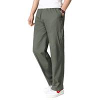 ingrosso pantaloni di elastici della fascia della vita-Primavera Autunno Uomo Casual Pantaloni larghi Verde dell'esercito Nero Pantaloni in cotone beige Maschio regolabile elastico in vita Streetwear Uomo
