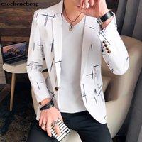 nueva chaqueta de los hombres coreanos al por mayor-Los últimos hombres de la chaqueta de la chaqueta de los hombres de la capa del estilo coreano de un botón Casual Slim Fit Suit Jacket Hombre Nueva Moda de impresión Blazer hombre