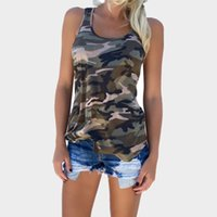 Wholesale camouflage print blouse online – Women Summer Sexy Pleated Back Closure Casual Tank Tops Camouflage Tops Vest Sleeveless T Shirt Blouse S XL