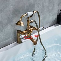 griff bad dusche wasserhahn großhandel-Antike Messing Badewanne Wasserhahn Dusche Wasserhahn Dual Crystal Griff Handbrause Mischbatterie Deck montiert Bad Dusche Set Mischbatterie