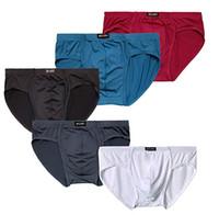 venta de lenceria hombre al por mayor-Paquete de calzoncillos de triángulo transpirable de seda transpirable para hombre