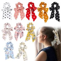 titular de la pajarita de pelo al por mayor-20Styles Vintage Hair Scrunchies Bow Solid Floral Hair Bandas Corbatas Scrunchie Ponytail Holder Mujeres Hair Rope Accesorios de decoración GGA2324