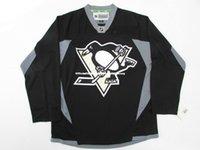 jersey negro de la práctica del hockey al por mayor-Barato personalizado PITTSBURGH PENGUINES NEGRO PRACTICA HOCKEY JERSEY punto añadir cualquier número cualquier nombre Mens Hockey Jersey GOALIE CUT 5XL
