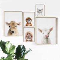 kinderzimmer wand wand großhandel-Kuh Schaf Katze Affe Eichhörnchen Wand-Kunst-Leinwand-Malerei Nordic Poster und Drucke Nursery Wandbilder Kinderzimmer Baby-Raum-Dekor
