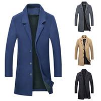 2019 New Autumn Winter Warm Jacket Wool Long Coat Men Casual Warm Black Business Overcoat Mens Stylish Woolen Jackets Parka Male