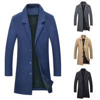 черная шерстяная куртка оптовых-2019 новая осень зима теплая куртка шерстяное длинное пальто мужчины свободного покроя теплое черное деловое пальто мужские стильные шерстяные куртки парка мужской