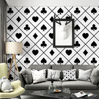 Wholesale country cards for sale - Group buy New simple black white playing card pattern wallpaper home decor TV background plaid geometric bedroom living room personality wall paper