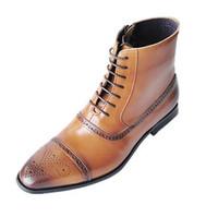 botas altas de vestir para hombre al por mayor-Tamaño 39-47 de estilo británico Brogue Hombres Botas de cuero de las botas del tobillo de los hombres de la cremallera lateral de alta calidad elegante de vestir de hombre decente Boots Botte Homme