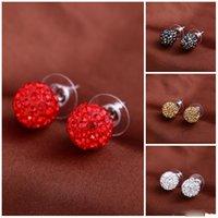 canais de bola de cristal venda por atacado-Brincos marca brincos bola de cristal parafuso prisioneiro brinco de diamante canal brincos