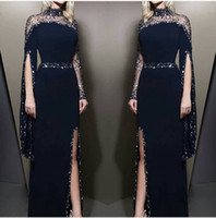 Wholesale high fashion long t shirt picture for sale - Group buy Navy Blue Sheer High Neck Sheath Split Evening Dresses Long Sleeves Beaded Formal Party Red Carpet Evening Gowns