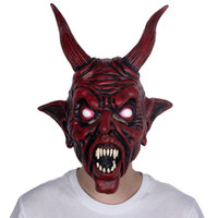 masque en latex rouge achat en gros de-Effrayant Adult Costume Corne Masque Horreur Halloween Party cosplay latex effrayant Horns Red Devil Mask Pour Party cosplay Y200103