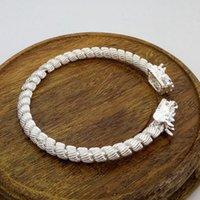 kupfer armband china großhandel-Neue Art und Weise ethnischer Art China Drache-Entwurf Öffnungs-Armband-Frauen-Mann-Armband-kupferner silberner Bracelete Schmuck