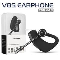 negocio de micro al por mayor-V8 V8S Auriculares Bluetooth de alta calidad CSR 4.0 Auriculares estéreo de negocios con micrófono Control de voz Auriculares con caja de cristal