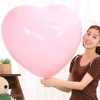doğum günü kalp balonları toptan satış-36 Inç Kalınlaşmak Kalp Şeklinde Balon Büyük Lateks Düğün Doğum Günü Partisi Dekorasyon Aşk Lateks Balonlar sevgililer Günü Balon BH1266 T03