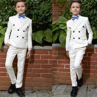 casaco de meninos venda por atacado-Terno do menino Moda Bonito Two-Piece Suit jaqueta calças Menino Cerimônia De Formatura Calças De Casamento Festa de Formatura Smoking Ternos Personalizado