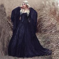 gotik maskeler toptan satış-Gotik Siyah balo elbisesi Gelinlik Omuz dantel uzun kollu artı boyutu Resmi elbise Akşam Giyim vampir Şık maske Parti Gowns Kapalı