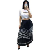 Wholesale strip skirt resale online - Women FF Letter Print Pleated Skirt summer dresses Fashion Strip Party Dresses Designer Female Maxi skirt Sport Beach Long Dress C52903