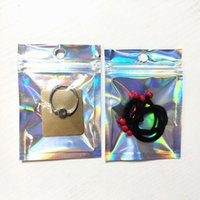 pendientes claros al por mayor-Volver claro delantero del papel de aluminio reluciente Zip Lock paquete Bolsa de Productos Electrónicos bolsa de almacenamiento joyería del pendiente de Mylar bolsa ZC1428