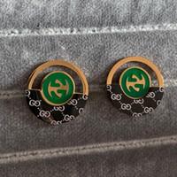 ingrosso y acciaio-2019 nuovo marchio di moda orecchini a bottone in oro rosa 18 carati placcato in acciaio inossidabile nero lettera A B C Y L T S G F verde orecchini per le donne uomini
