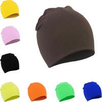 gorras de calavera infantil al por mayor-Hot Children Cap Color puro para bebés Skull Skull Otoño e invierno Sombrero para niños Sombrero de algodón para bebés T6G6004