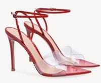 bombas de dedo do pé abertas nu venda por atacado-Verão PVC cinta fivela apontou dedo aberto mulheres sandálias finas bombas de salto alto sexy Stiletto preto vermelho nude party dress shoes
