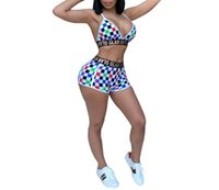 b798e884117f Women Wardrobe Sexy 2 Piece Outfits Plaid Letter Backless Bra Shorts Set  Jumpsuits Tracksuits