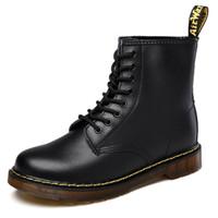 las mejores marcas de botas de vaquero al por mayor-Botas de piel de invierno Martens Zapatos de marca para hombre calientes calientes del Mens motocicleta bota del tobillo Doc Martins piel de los hombres zapatos de los oxfords