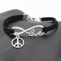 Wholesale leather peace sign jewelry resale online - Fashion Causal Antique Silver Peace Symbols Round Cross Charms Pendant Black Leather Suede Bracelet Bangles for Men Women Peace Sign Jewelry