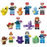 juguetes de animales para niñas al por mayor-Figura de juguete de dibujos animados en miniatura de Japón con juguete de bloques de construcción de pelotas de animales para niños y niñas