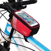 b ekranı toptan satış-B-SOUL Dokunmatik Ekran Bisiklet Çanta Bisiklet MTB Dağ Bisikleti çerçeve 5.7 inç Cep Telefonu için Ön Tüp Saklama Çantası Su Geçirmez Spor Açık P