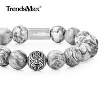 Wholesale natural gemstone 12mm for sale - Group buy Natural Stone Beaded Bracelet Women Men Stretch Sterling Silver Beads Bracelet Matte Grey Jasper Gemstone MM TBB00806