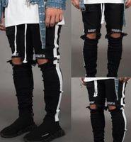 ingrosso jeans mens strip-New Mens Jean Pantalones Street Black Holes Designer White Stripes Jeans Hiphop Skateboard Pencil Pants