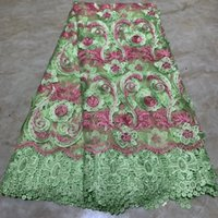 Wholesale veritable fabric dresses resale online - Green Veritable French Lace Swiss Tulle Lace Fabric Floral Embroidery African Nigerian Sewing High Quality For Dress