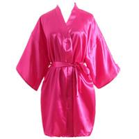 women s silk nightgowns großhandel-Frauen Faux Silk Satin Nachthemd Mutter Kurzarm Reine Farbe Nachtwäsche Frauen Sommer Lose Hause Kleidung Bademäntel RRA404