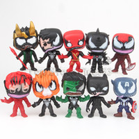 figuras de veneno venda por atacado-Boneca Vingadores: Venom 10 pçs / lote Superhero Dolls 9 CM PVC Deadpool Spiderman Figuras Boneca Brinquedos Infantis