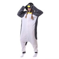 ingrosso tuta da pelo per adulti-New Adult Animal Grey Penguin Pigiama Cartoon Fleece Kigurumi Onesies Costumi Tute Regalo di Natale Per donne Uomini