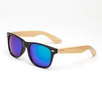 espejo enmarcado de bambú al por mayor-Gafas de sol de bambú Unisex clásico de la vendimia Pierna de madera Gafas de sol con montura AC Diseñador de la marca Espejo Gafas de madera originales Caliente