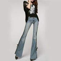 frauen erwachsene jeans großhandel-Patchwork Vintage Wide Leg Womens Flare Jeans zerrissen hoch taillierte ausgestellte Jeans Butt Lift Büro Lady Jeans Feminino Y19042901