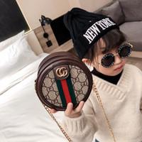 Wholesale mini baby bag resale online - Kids Handbags Baby Bags Lovely Letter Design Princess Purses Girl Mini Pu Chain Inclined circular Shoulder Bags