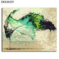 dansçılar petrol kanvas abstract toptan satış-16x20 inç Çerçevesiz Boyama By Numbers DIY Yağlıboya resim El Boyalı Tuval Sanat Soyut Bale Dansçısı