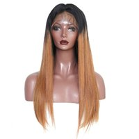 Wholesale human hair two tone wigs resale online - Dark Blonde Ombre Human Hair Wig Straight Virgin Peruvian Full Lace Wig Human Hair Two Tone Lace Front Wig with Baby Hair