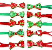 Wholesale dog cat collar dhl for sale - Group buy New Pet puppy Cat Dog Christmas tree snowflakes bow tie necklace collar bowknot necktie grooming for pet supplier decoration Costume DHL