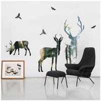 pegatinas de pared de animales del bosque al por mayor-Diseñador de Pegatinas de Pared Creativos Ciervos del Bosque Sala de estar Decorativos Pegatinas de Pared Pegatinas de Pared Extraíbles Ecológicas