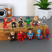 modelos de batman al por mayor-12 unids / set Marvel Avengers Figuras Spider-man Ironman Batman Hulk Personajes Modelo Superman Raytheon PVC Figuras de Acción Juguetes para niños