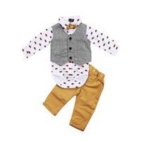 baby boy chaleco de manga larga al por mayor-Bebé recién nacido Ropa para niños Conjuntos Formales Traje Chaleco Tops Bowtie Pantalones de manga larga Conjuntos de ropa Conjunto Baby Boy J190520