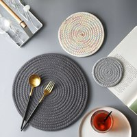 Wholesale crochet cup placemat resale online - 3PCS Cotton and Linen Creative Insulation Mat Handmade Crocheted Placemat Table Mat Cotton Doily Cup Kitchen Round