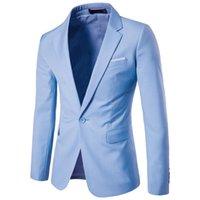 en iyi erkekler resmi takım elbiseleri toptan satış-İş Suit Uzun Kollu Örgün Erkek Blazers Artı boyutu Erkek Ofisi Suit En İyi Erkek Günlük Moda Blazer Açık Mavi Kabanlar 6XL